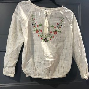 Girls Embroidered Peasant Shirt XL